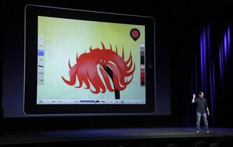 Chris Cheung, Autodesk Senior Product Manager for Sketchbook, speaks at an Apple event in San Francisco, Wednesday, March 7, 2012. THE CANADIAN PRESS/AP-Jeff Chiu