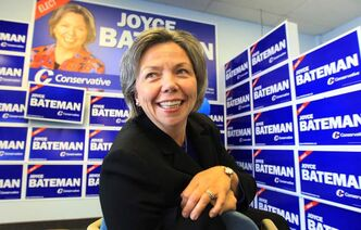 Joyce Bateman,  seen on election night in 2011, refused to answer questions about voter fraud in her riding except to repeat that the judge found no one in her campaign committed the fraud. The judge chastised Bateman and five other MPs for engaging in 'trench warfare' in an attempt to prevent the case from going forward.