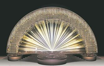 The set design for the Academy Awards by designer Derek McLane features 1,051 replicas of the Oscar Statuette.