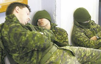 Soldiers competing Saturday take a much-needed rest from the action.