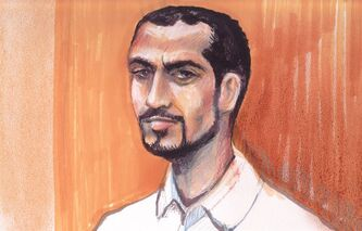 Omar Khadr appears in an Edmonton courtroom, on Sept.23, 2013 in an artist's sketch. THE CANADIAN PRESS/Amanda McRoberts