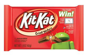 This undated product image provided by The Hershey Company shows the new Kit Kat label for The Hershey Company featuring Android's green robot mascot breaking a Kit Kat. Google is naming its new Android operating system after the chocolate bar. The Android 4.4 KitKat system is expected to launch in October 2013. (AP Photo/The Hershey Company).