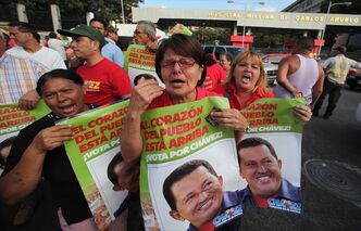 Supporters of Venezuela's President Hugo Chávez celebrate his return to the country in Caracas, Venezuela, in February.