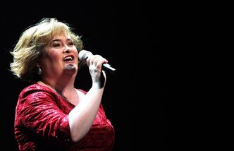 In this Tuesday, March 27, 2012 photo, Susan Boyle performs in Newcastle, England. THE CANADIAN PRESS/AP, Scott Heppell