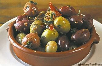 Mixed olives in orange and thyme