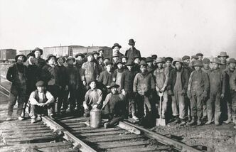 Chinese labourers on the B.C. portion of the CPR in 1883. They were paid a fraction of what non-Chinese workers received.