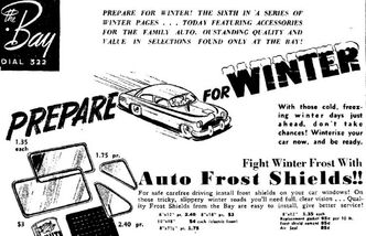Ad for frost shields from a 1952 edition of the Winnipeg Free Press.