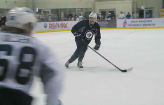 Nolan Zajac skates during the Jets development camp.