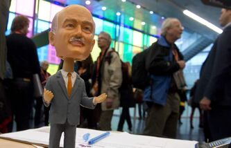 A bobblehead of late NDP leader Jack Layton sits on a table during the convention.