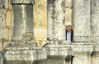 Prime Minister Stephen Harper walks through the synagogue at Capernaum, Israel on Wednesday.
