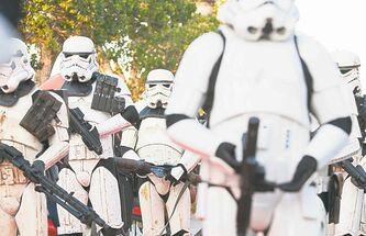Star Wars troopers march in Tunis Wednesday. The movie was shot in Tunisia.