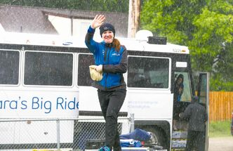 Clara Hughes waves hello after arriving at Clara Hughes Recreational Park as part of her Canadian tour Saturday.