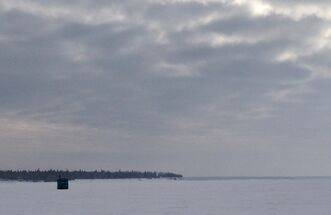 A fishing shack on Lake Winnipeg