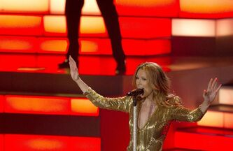 Celine Dion sings at Caesar's Palace, on March 15, 2011, in Las Vegas. THE CANADIAN PRESS/AP, Julie Jacobson