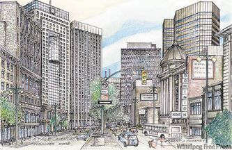 Robert Sweeney's meticulous  sketches of Winnipeg's streets and buildings reveal the city's charms. This sketch is looking east on Portage Avenue.
