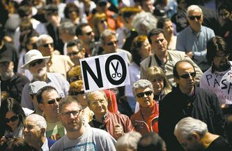Spaniards demonstrate against government-imposed austerity plans in Madrid last spring.