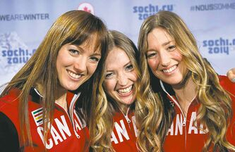 Sisters Maxime, Chloe and Justine Dufour-Lapointe (from left) radiate smiles after being named to Canada's Olympic team.