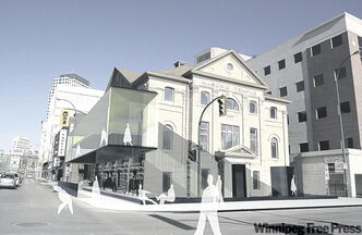 The former Masonic Temple  will receive a glass atrium on the second and third floors as seen in artist's rendering.