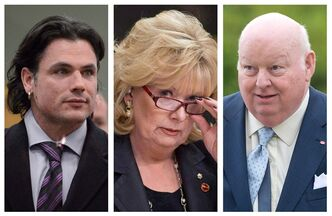 Sen. Patrick Brazeau, (left to right) Sen. Pamela Wallin and Sen. Mike Duffy are shown in file photos. THE CANADIAN PRESS/Adrian Wyld