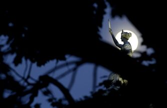 The moon in its waxing gibbous stage sh behind tree limbs and a statue a marble statue by John Gelert representing history and law on the top of the Bergen County Courthouse in Hackensack, N.J., Friday, June 21, 2013. The moon, which will reach its full stage on Sunday, is expected to be 13.5 percent closer to earth during a phenomenon known as supermoon. (AP Photo/Julio Cortez)