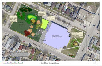 An artist's rendering of the playground renewal being eyed for King Edward School.