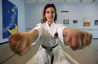 Sofia Mirza, a two-time provincial women's karate champion, works out at Monika Danz Gym.
