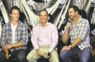 Players Cup executive director Ryan Hart (centre) shared the podium with Jonathan Toews (left) and Shane Hnidy at tournament press conference held at the Free Press Cafe.