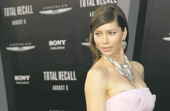 "Cast member Jessica Biel arrives at the premiere of ""Total Recall"", Wednesday, Aug. 1, 2012 in Los Angeles. (Photo by Matt Sayles/Invision/AP)"