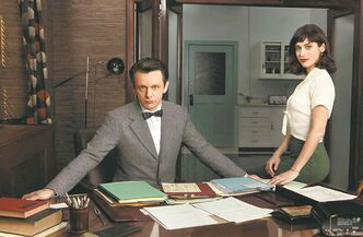 Craig Blankenhorn/SHOWTIMEMichael Sheen, left, and Lizzy Caplan as Dr. William Masters and Virginia Johnson; top, with Caitlin Fitzgerald as Libby Masters.