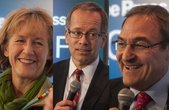 A composite of photo of the three Federal Liberal leadership candidates who visited the Winnipeg Free Press News Café in succession Friday afternoon. From left Vancouver MP Joyce Murray, technology lawyer George Takach and former Montreal MP Martin Cauchon.  (Melissa Tait / Winnipeg Free Press)