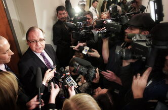 Aboriginal Affairs Minister Bernard Valcourt speaks during a 2013 announcement that Bill C-27, the First Nations Financial Transparency Act, had reached royal assent and become law.