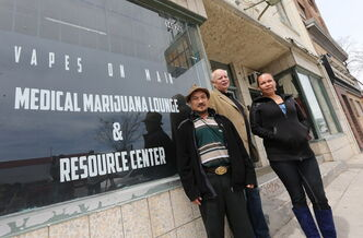 From left, John Tran, Vapes on Main co-founder Bill VanderGraaf and medical-marijuana user Lee-Anne Kent outside the lounge and resource centre.