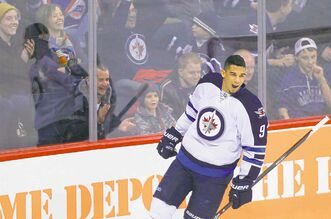 Evander Kane is pumped after scoring a goal against Al Montoya in the breakaway competition.