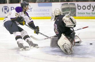 Blues' Lucas Skrumeda beats Kings goalie Michael Stiliadas in the first period.