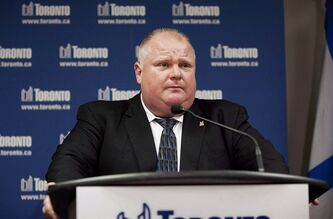 Toronto Mayor Rob Ford is shown at a press conference at city hall in Toronto on Friday, May 31, 2013. THE CANADIAN PRESS/Michelle Siu