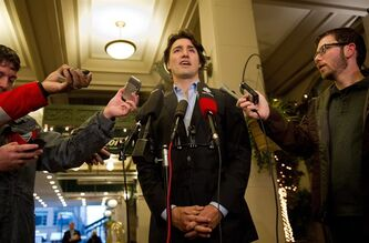 Justin Trudeau speaks to reporters outside a hotel in Vancouver, on Friday November 23, 2012. THE CANADIAN PRESS/Richard Lam