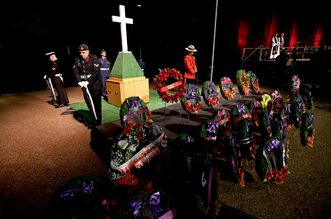 Service members stand as part of a display during the Remembrance Day service at the Winnipeg Convention Centre in 2012.