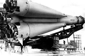 An undated picture shows a Russian Vostok rocket on its launcher.
