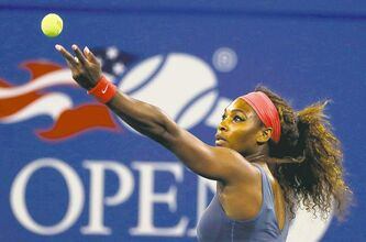 Serena Williams prepares to thunder a serve at Carla Suarez Navarro during their quarter-final match Tuesday.