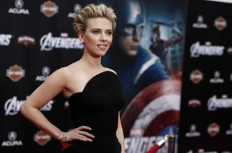 "Cast member Scarlett Johansson arrives at the premiere of ""The Avengers"" in Los Angeles, Wednesday, April 11, 2012. ""The Avengers"" will be released in theaters May 4, 2012. (AP Photo/Matt Sayles)"