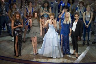 "FILE - In this Tuesday Dec. 11, 2012 file photo from left, Mel B, Mel C, Geri Halliwell, Emma Bunton and Victoria Beckham take the applause on stage at the curtain call for Viva Forever! press night, a musical based on the songs of the Spice Girls, at the Piccadilly Theatre in central London. The much-anticipated Spice Girls musical ""Viva Forever"" will close June 29 after a disappointing six-month run in London. Producer Judy Craymer said Thursday May 2, 2013 that despite improvements to the show ""we just can't make it work"". (Photo by Joel Ryan/Invision/AP, File)"