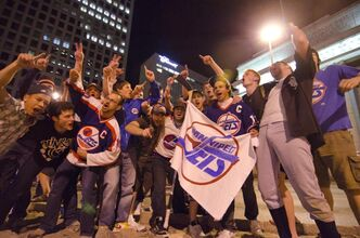 Winnipeg Jets supporters gathered at the city's famous Portage and Main intersection to celebrate after a Globe and Mail article seemed to confirm the Atlanta Thrashers relocation to Winnipeg late Thursday night. The party continued early into Friday morning as a mostly male crowd broke into impromptu street hockey game going past 1:30AM. Officials at True North have denied any deal has been reached.