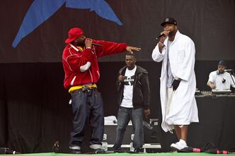 Members of U.S band Wu-Tang Clan perform at the Glastonbury Music Festival, Glastonbury, England, Friday, June 24, 2011. The Flaming Lips and Wu-Tang Clan veterans Raekwon and Ghostface Killah are among the acts who will perform for free during Toronto's North by Northeast festival this June. (AP Photo/Joel Ryan)