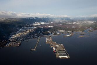 Douglas Channel, the proposed termination point for an oil pipeline in the Enbridge Northern Gateway Project, is pictured in an aerial view in Kitimat, B.C., on January 10, 2012. THE CANADIAN PRESS/Darryl Dyck