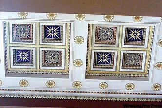 A view of the great hall's painted ceiling in the downtown Bank of Montreal building.