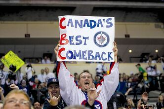 Fans. Winnipeg jets take on the Montreal Canadiens for the NHL regular season home opener Sunday, October 9, 2011 at the MTS Centre.   (Trevor Hagan / Winnipeg Free Press)