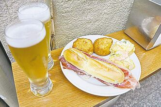 Our first pintxos in San Sebastian at Ganbara, before we knew the lay of the land.