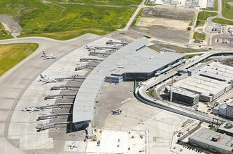 Aerial photo shows Winnipeg's James Armstrong Richardson International Airport.