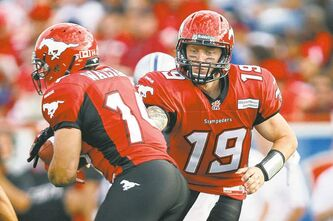 Stampeders quarterback Bo Levi Mitchell (right), who is likely to make his first career start tonight, put in an impressive relief performance last week against Montreal.