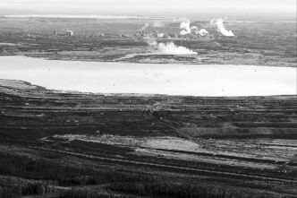 This 2011 aerial photo shows an oilsands tailings pond at a mine near Fort McMurray, Alta.
